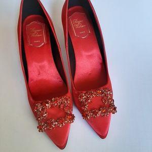 Roger Vivier Silk Flower Strass Shoes